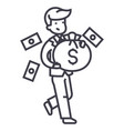 businessman with money bag line icon sign vector image