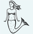 Cute mermaid with curly hair vector image