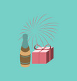 Flat on background of fireworks champagne gift vector image