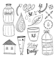 hand drawn set of water and recycle icons vector image