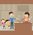happy cute family cooking vector image