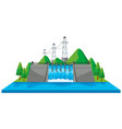 scene with dam and electric towers in 3d design vector image