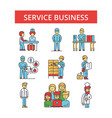 service business thin line icons vector image