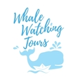 Whale watching tours logo in handwritten style vector image