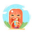 smiling cute girl happy eat icecream cartoon vector image vector image