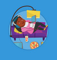 woman lying on sofa with many gadgets vector image