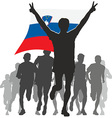 Athlete with the Slovenia flag at the finish vector image vector image