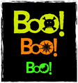 Halloween boo neon graphics on black background vector image