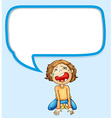 Speech bubble design with boy crying vector image