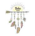 Boho Style with Ethnic Arrows and Feathers vector image