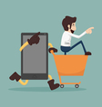 Businessman online shopping e-commerce concept vector image