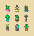 cartoon green indoor plants in pots big collection vector image