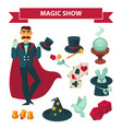 circus magician man with magic show vector image