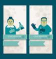 cute doodle teacher vertical banners vector image