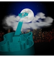 Guitar cityscape moon and clouds vector image
