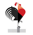 red cock on white background vector image