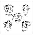 Sad facial expressions - set vector image