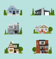 vacation houses in rural area set vector image