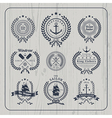 Vintage nautical wreath labels set on light wood vector image