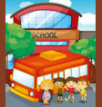 children standing by schoolbus at school vector image vector image
