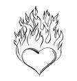 flaming heart vector image