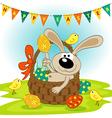 easter bunny in basket vector image