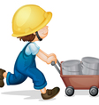 Kid construction worker vector image vector image