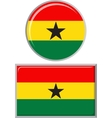 Ghanaian round and square icon flag vector image