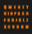 Glowing festive letters collection Design elements vector image