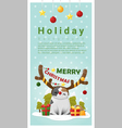 Merry Christmas Greeting banner with cat wearing vector image