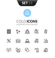 outline black icons set thin modern design style vector image
