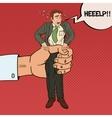 Employer Big Hand Squeezes Pop Art Office Worker vector image
