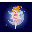 A fairy with a pink dress near the moon vector image