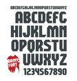 Sans serif geometric military font and numeral vector image