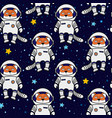 fox astronaut and stars in space seamless pattern vector image
