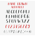 Hand drawn alphabet and numbers ABC letters vector image