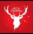 merry christmas postcard white deer silhouette on vector image