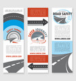 road safety banner template set with highway icons vector image