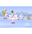 Set of snowmans christmas background vector image