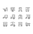 Wheel shops black line icons vector image