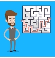 Businessman looking at the labyrinth vector image