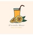 Glass of orange juice with straw vector image