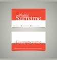 Modern simple business card template with big name vector image