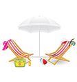 beach chairs and parasol 02 vector image