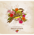 Vintage Card - Flowers and Bird vector image vector image