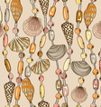 Seamless pattern of seashell jewelry vector image