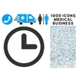 Clock Icon with 1000 Medical Business Symbols vector image