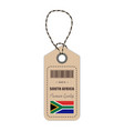 hang tag made in south africa with flag icon vector image