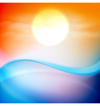 Water wave in sunset time vector image