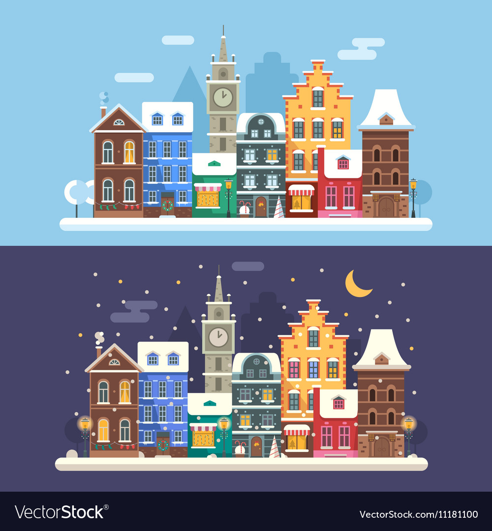 Christmas city banners vector